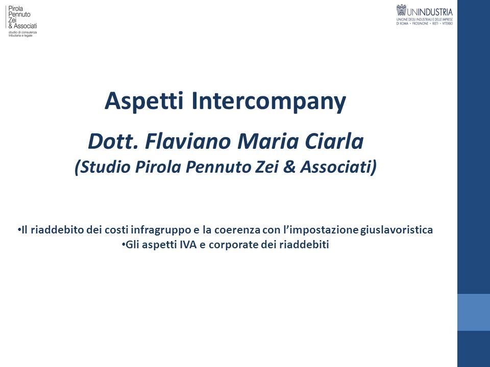 Aspetti Intercompany Dott. Flaviano Maria Ciarla