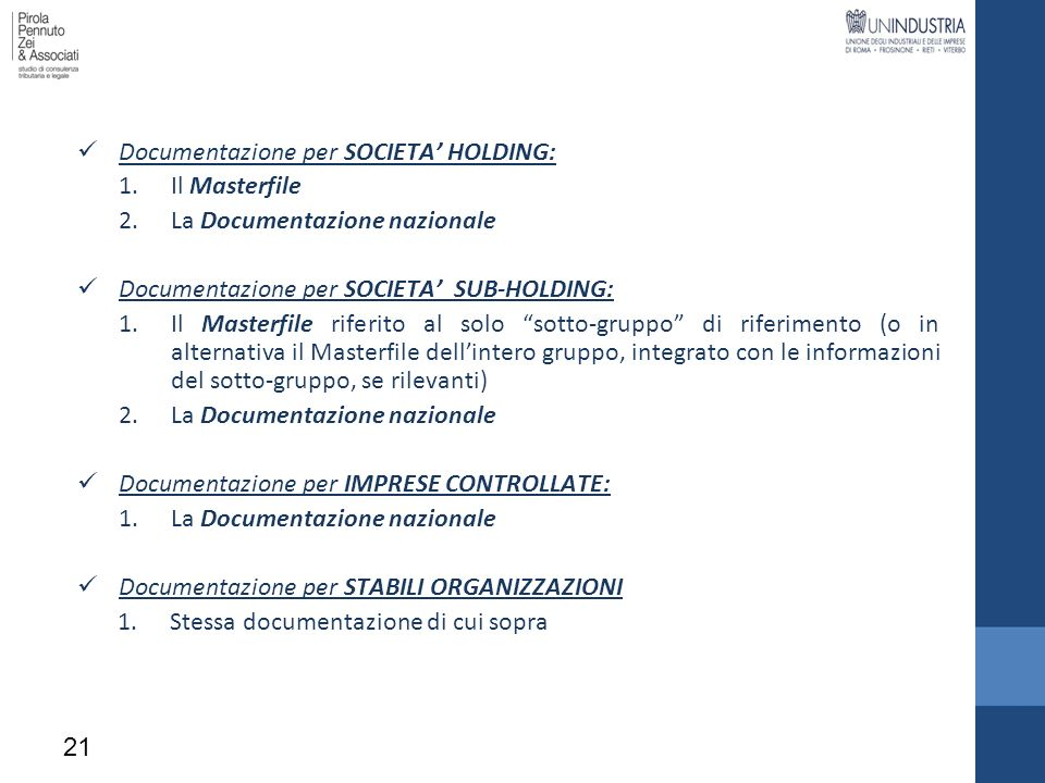Documentazione per SOCIETA' HOLDING: