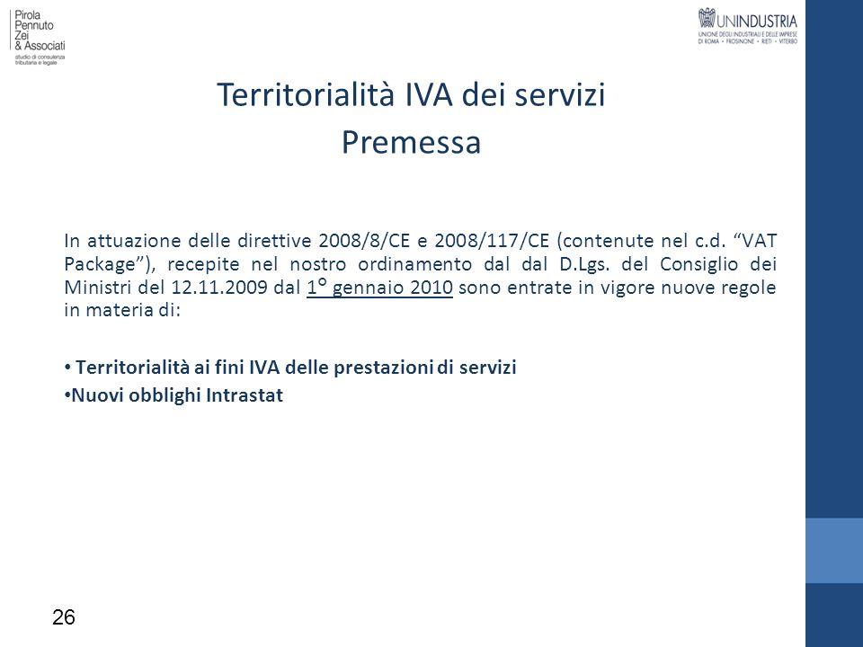 Territorialità IVA dei servizi