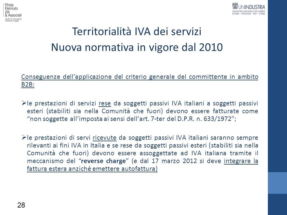 Territorialità IVA dei servizi Nuova normativa in vigore dal 2010