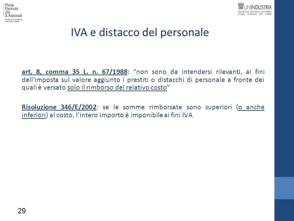 IVA e distacco del personale