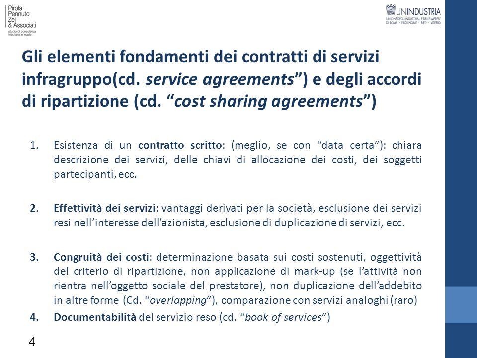 Gli elementi fondamenti dei contratti di servizi infragruppo(cd
