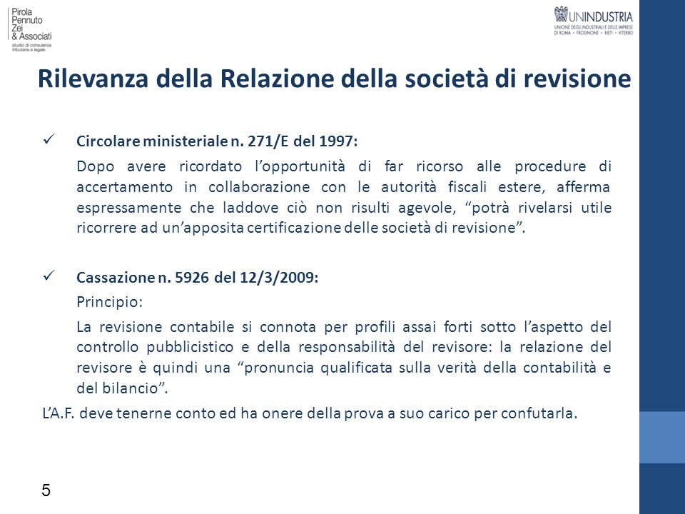 Rilevanza della Relazione della società di revisione