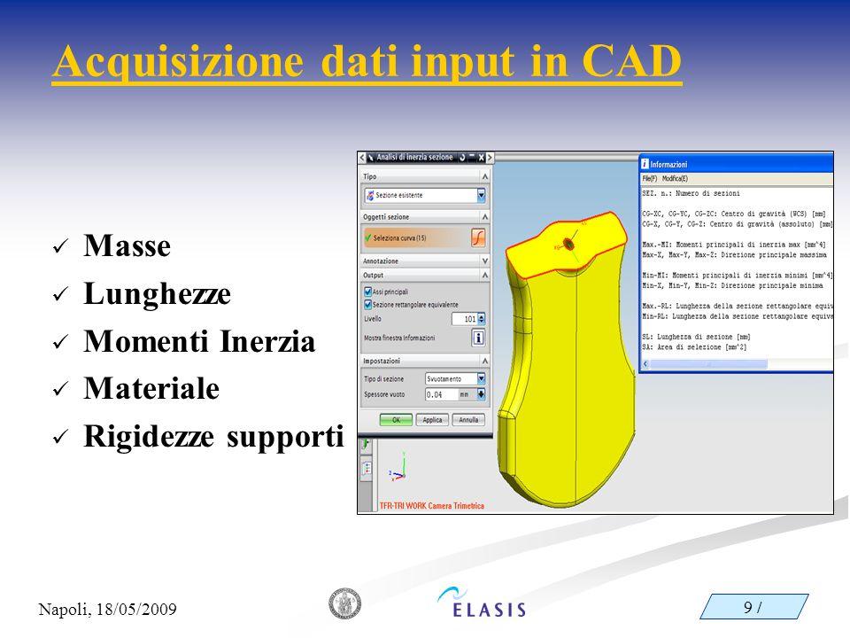 Acquisizione dati input in CAD