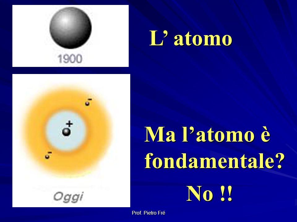 L' atomo Ma l'atomo è fondamentale No !! Prof. Pietro Fré