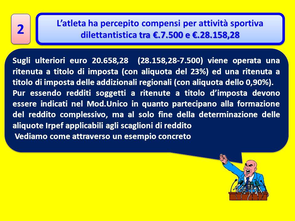 2 L'atleta ha percepito compensi per attività sportiva dilettantistica tra €.7.500 e €.28.158,28.