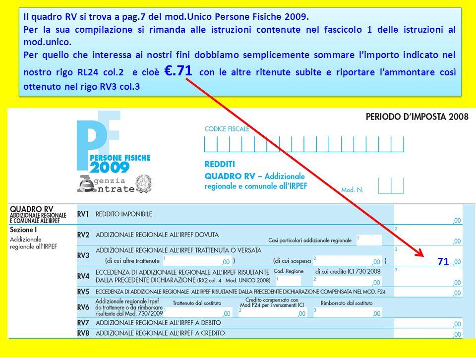 71 Il quadro RV si trova a pag.7 del mod.Unico Persone Fisiche 2009.