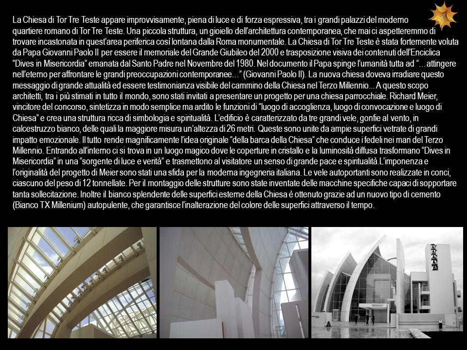 La Chiesa di Tor Tre Teste appare improvvisamente, piena di luce e di forza espressiva, tra i grandi palazzi del moderno