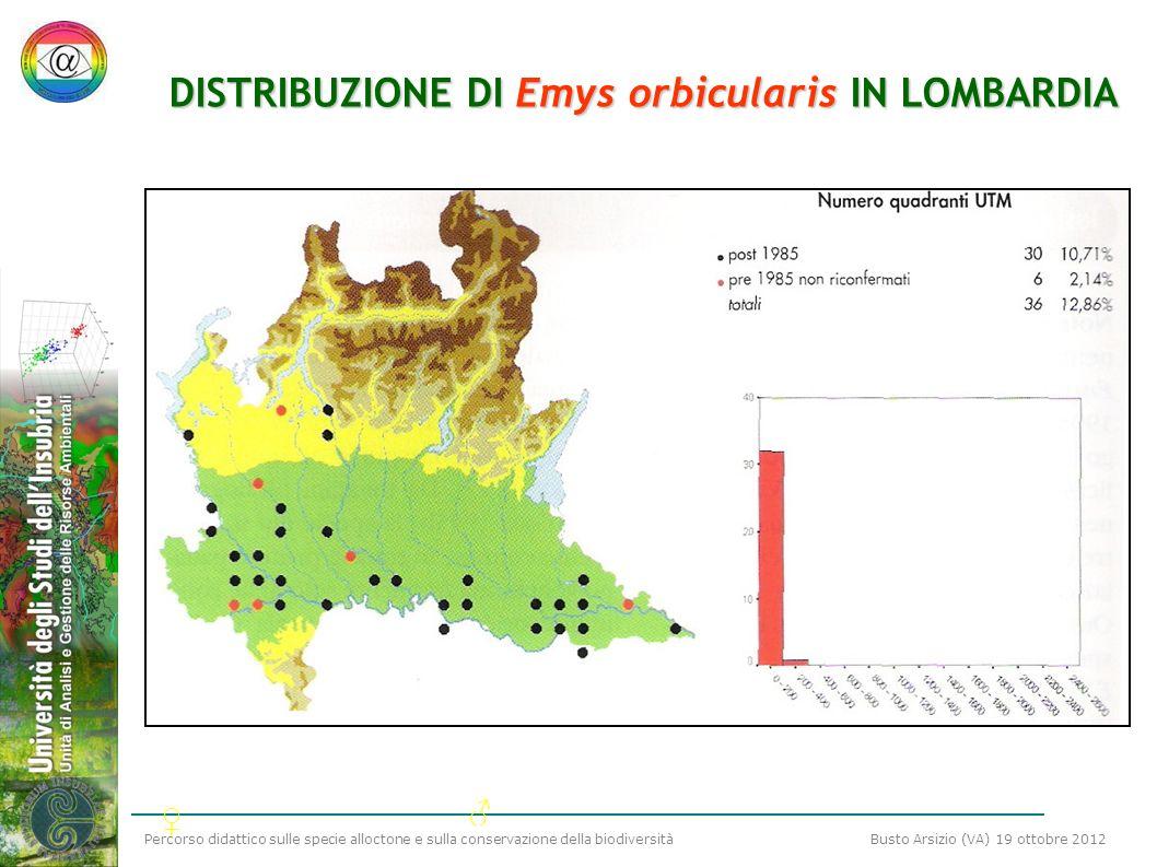 DISTRIBUZIONE DI Emys orbicularis IN LOMBARDIA