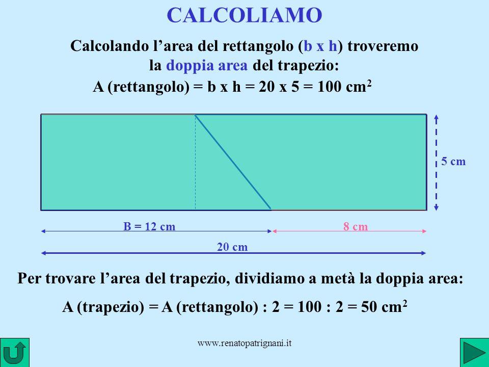 A (rettangolo) = b x h = 20 x 5 = 100 cm2