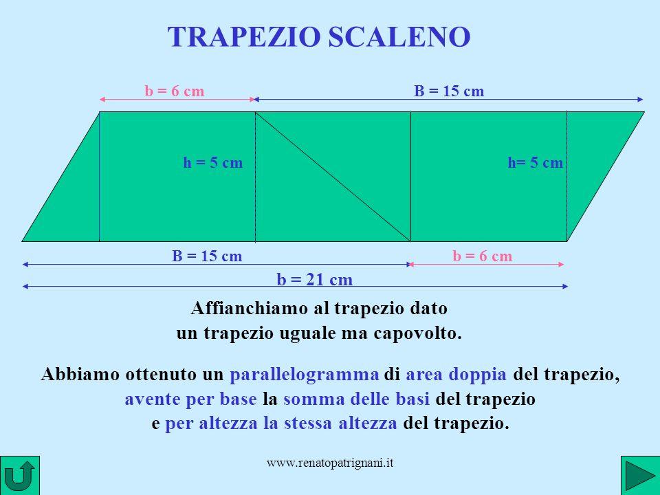 Affianchiamo al trapezio dato un trapezio uguale ma capovolto.