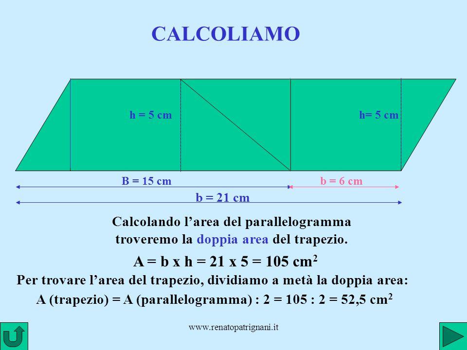 CALCOLIAMO A = b x h = 21 x 5 = 105 cm2