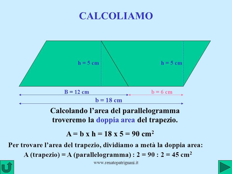 CALCOLIAMO h = 5 cm. h = 5 cm. B = 12 cm. b = 6 cm. b = 18 cm. Calcolando l'area del parallelogramma troveremo la doppia area del trapezio.