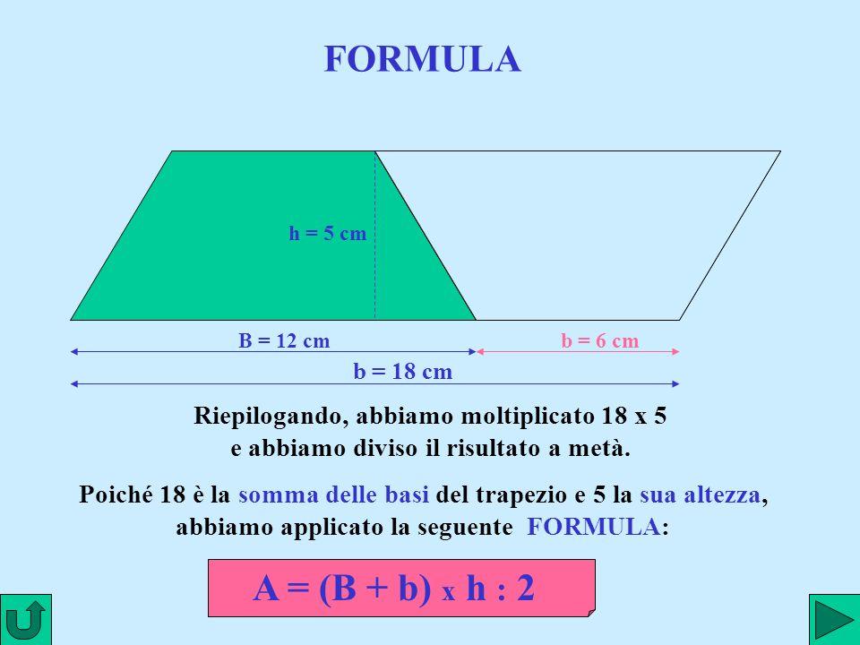 FORMULA h = 5 cm. B = 12 cm. b = 6 cm. b = 18 cm. Riepilogando, abbiamo moltiplicato 18 x 5 e abbiamo diviso il risultato a metà.