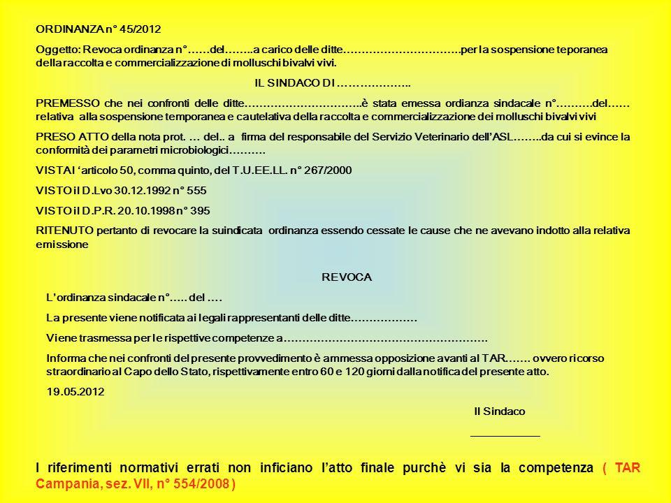 ORDINANZA n° 45/2012