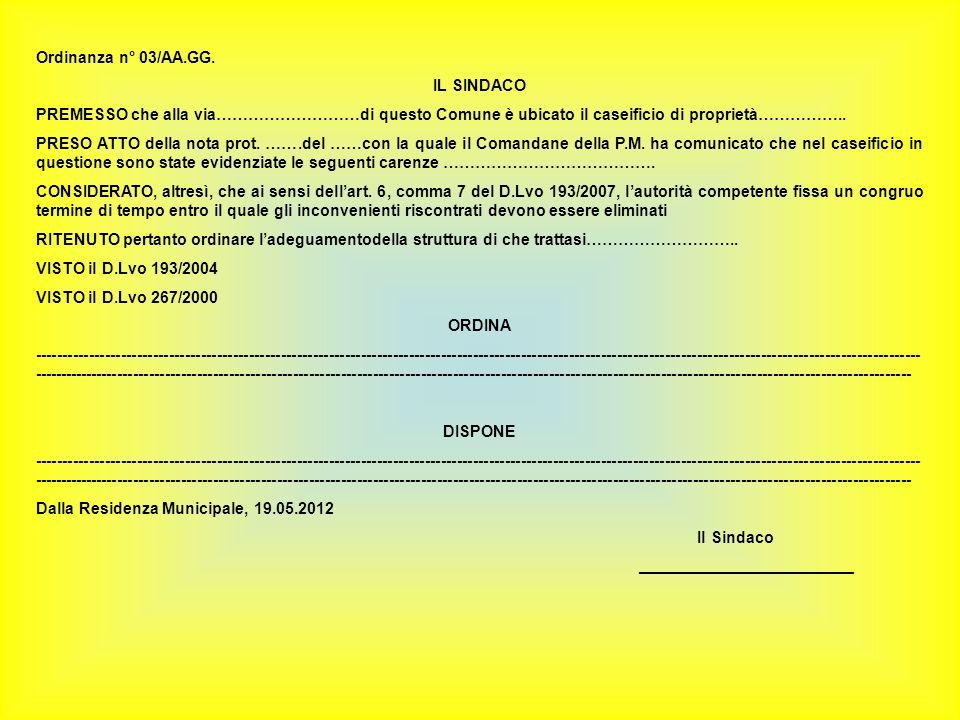 Ordinanza n° 03/AA.GG. IL SINDACO. PREMESSO che alla via………………………di questo Comune è ubicato il caseificio di proprietà……………..