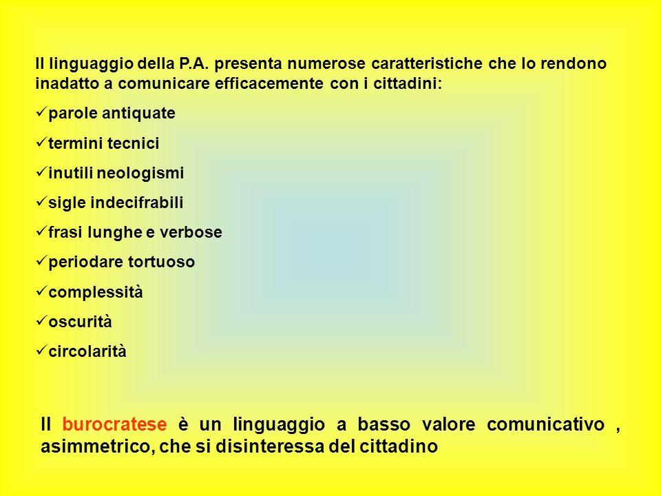 Il linguaggio della P.A. presenta numerose caratteristiche che lo rendono inadatto a comunicare efficacemente con i cittadini: