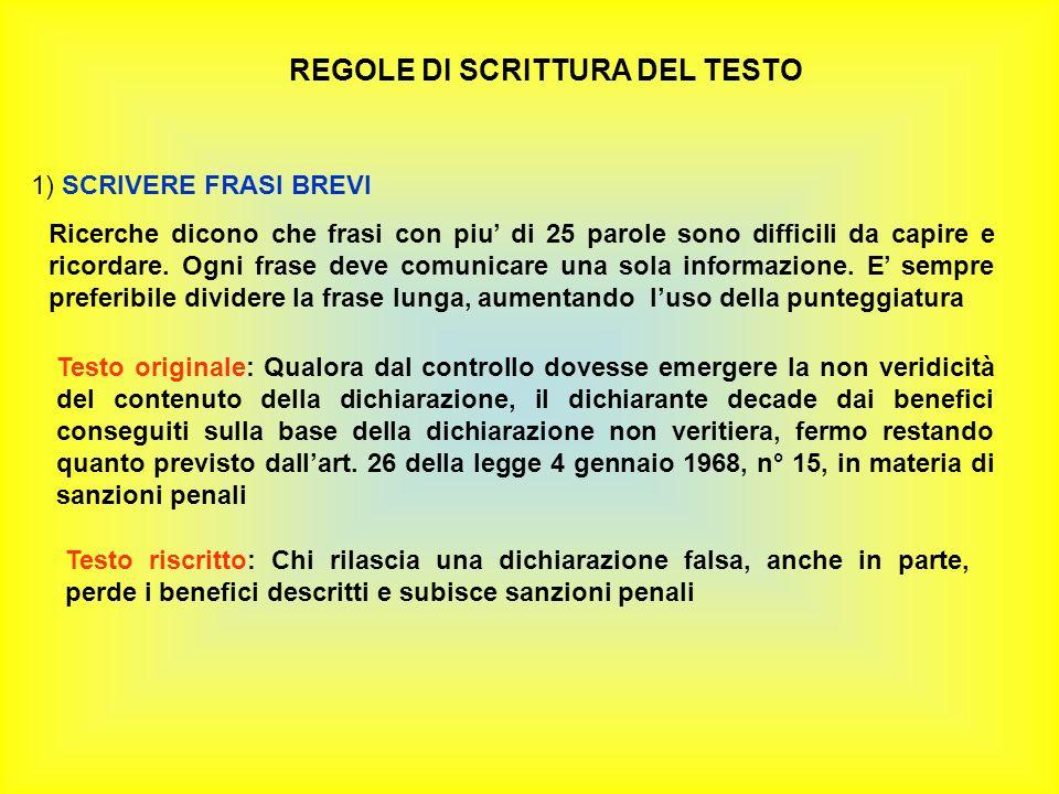 REGOLE DI SCRITTURA DEL TESTO