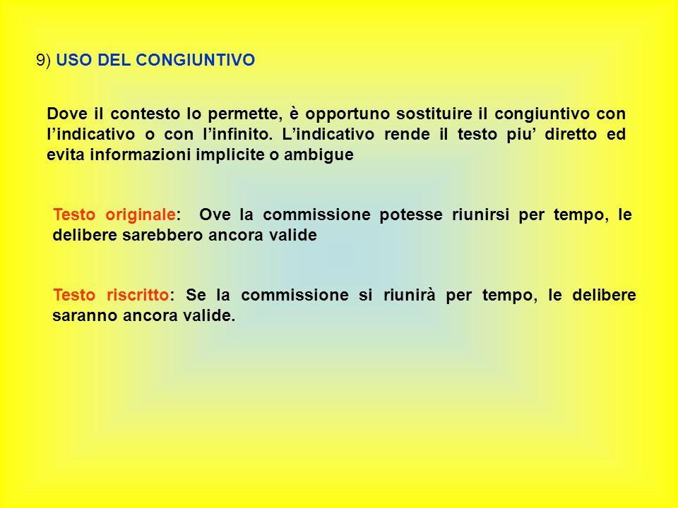 9) USO DEL CONGIUNTIVO