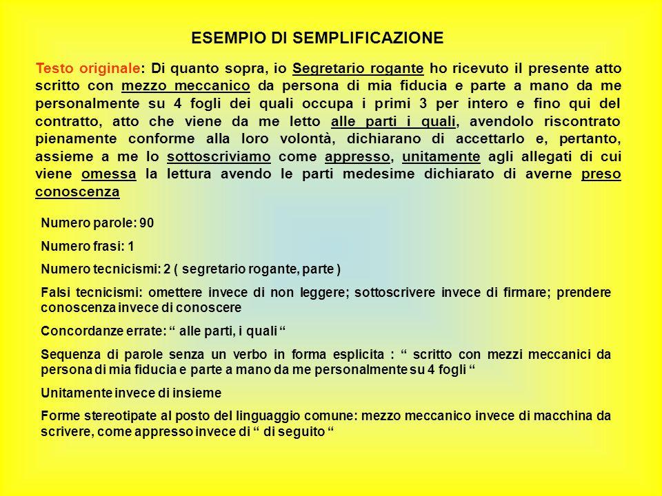 ESEMPIO DI SEMPLIFICAZIONE