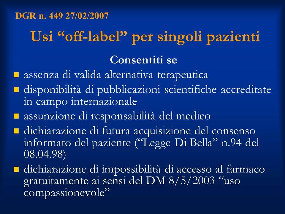 Usi off-label per singoli pazienti