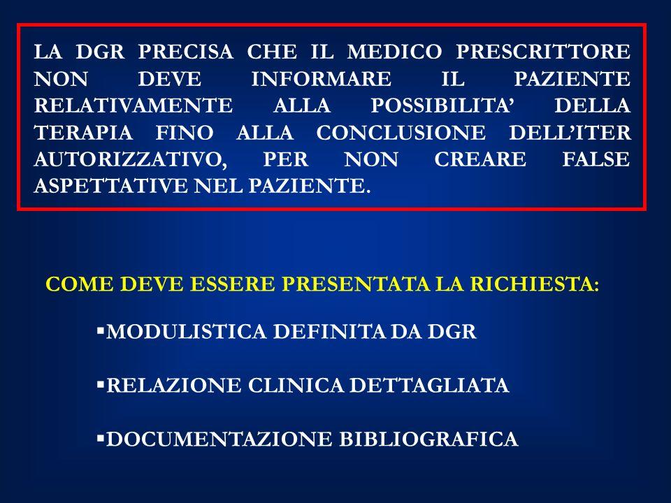 LA DGR PRECISA CHE IL MEDICO PRESCRITTORE NON DEVE INFORMARE IL PAZIENTE RELATIVAMENTE ALLA POSSIBILITA' DELLA TERAPIA FINO ALLA CONCLUSIONE DELL'ITER AUTORIZZATIVO, PER NON CREARE FALSE ASPETTATIVE NEL PAZIENTE.
