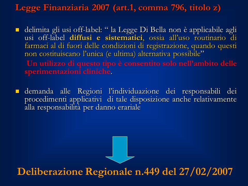 Deliberazione Regionale n.449 del 27/02/2007