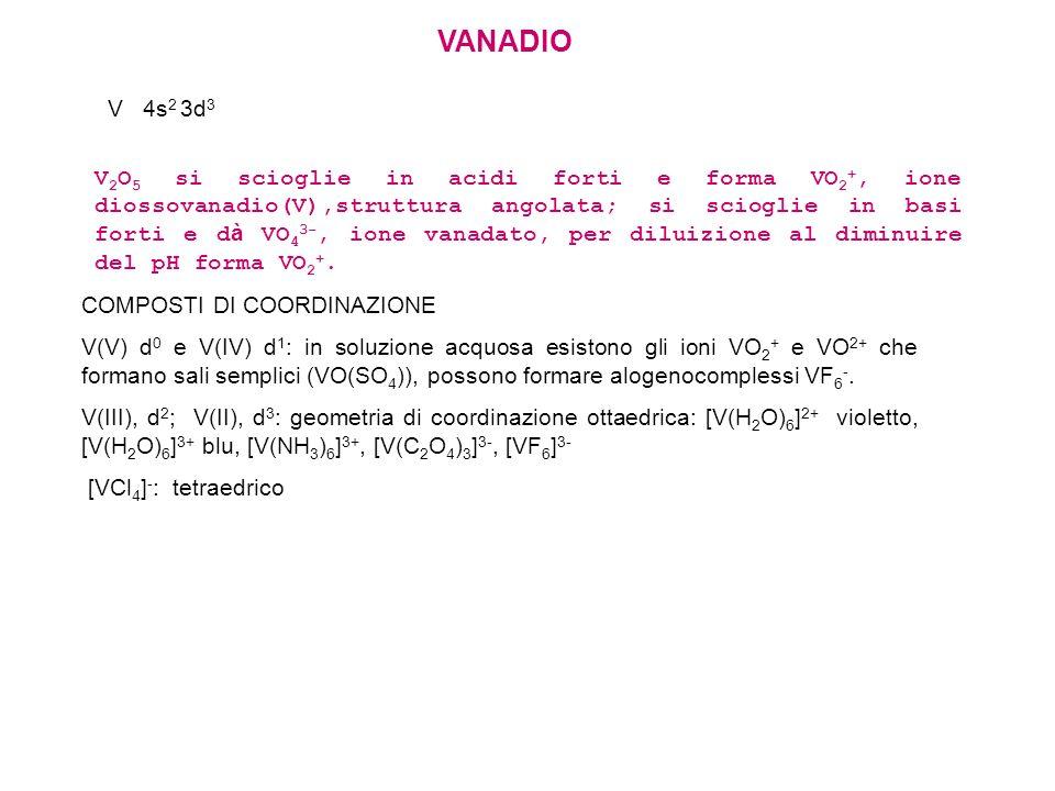 VANADIO V 4s2 3d3.