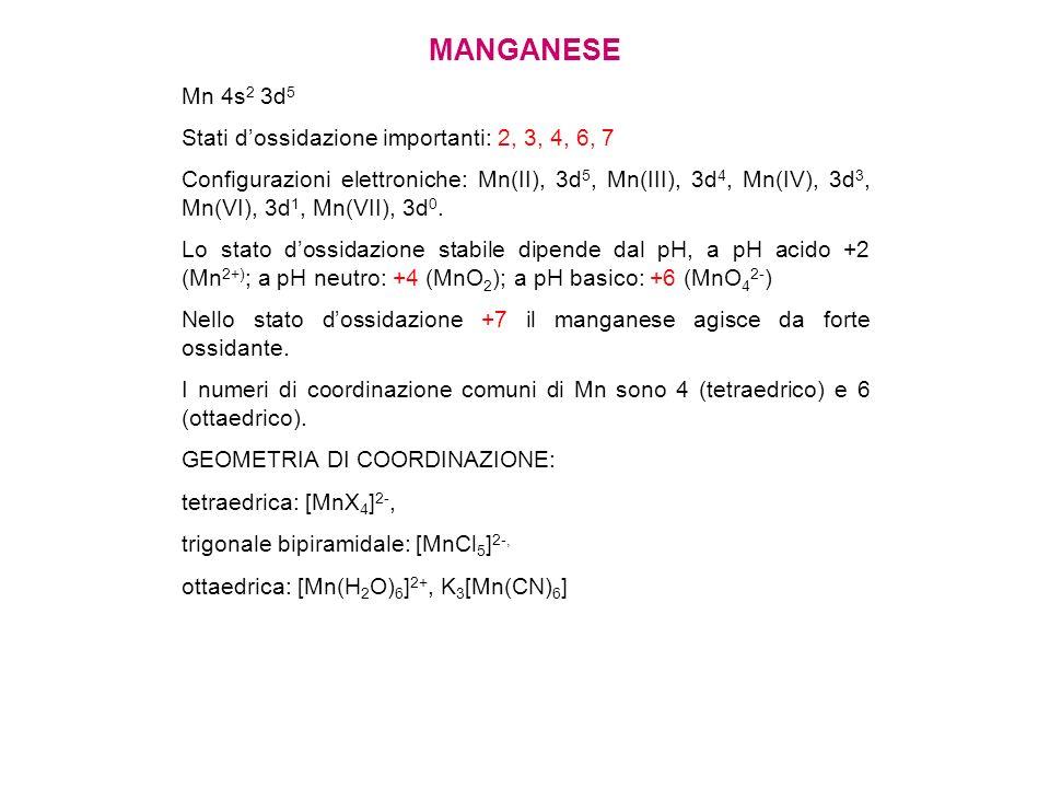 MANGANESE Mn 4s2 3d5 Stati d'ossidazione importanti: 2, 3, 4, 6, 7