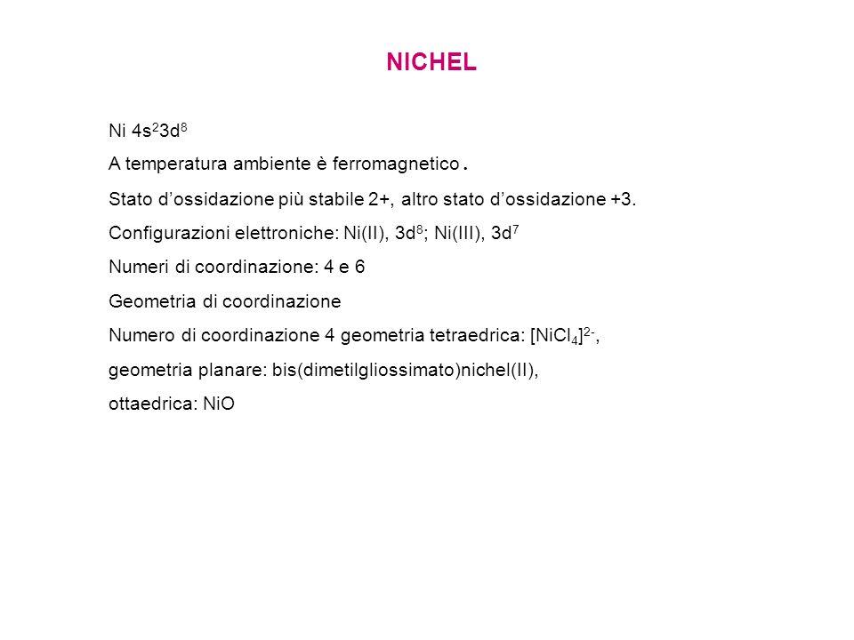 NICHEL Ni 4s23d8 A temperatura ambiente è ferromagnetico.