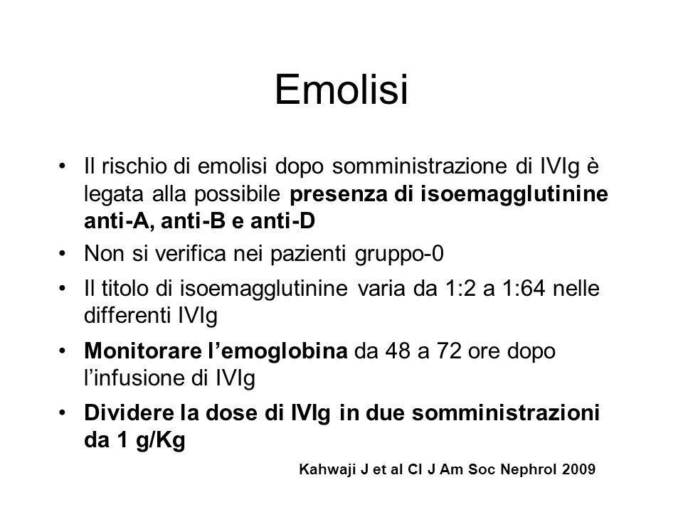 Emolisi Il rischio di emolisi dopo somministrazione di IVIg è legata alla possibile presenza di isoemagglutinine anti-A, anti-B e anti-D.