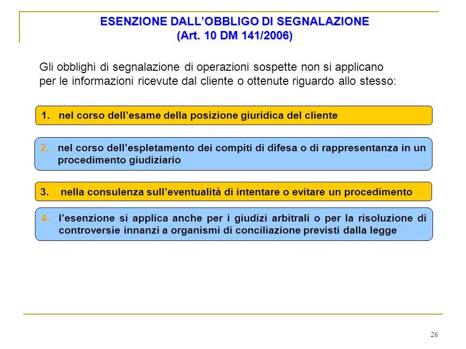 ESENZIONE DALL'OBBLIGO DI SEGNALAZIONE (Art. 10 DM 141/2006)