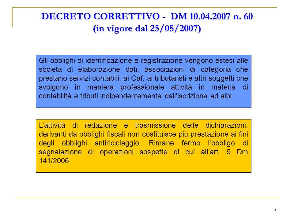 DECRETO CORRETTIVO - DM 10.04.2007 n. 60 (in vigore dal 25/05/2007)