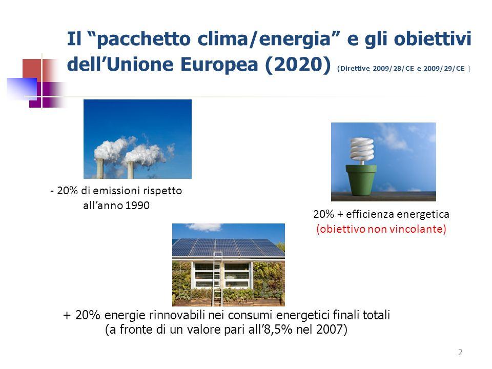 Il pacchetto clima/energia e gli obiettivi dell'Unione Europea (2020) (Direttive 2009/28/CE e 2009/29/CE )