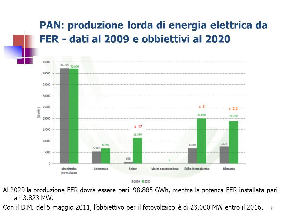 PAN: produzione lorda di energia elettrica da FER - dati al 2009 e obbiettivi al 2020