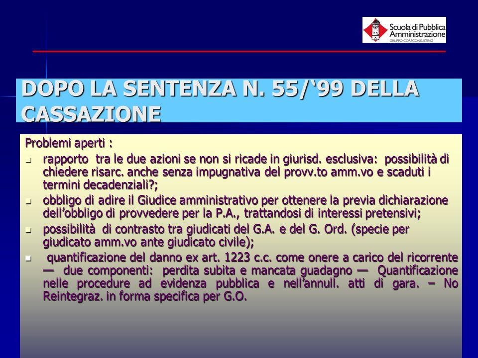 DOPO LA SENTENZA N. 55/'99 DELLA CASSAZIONE