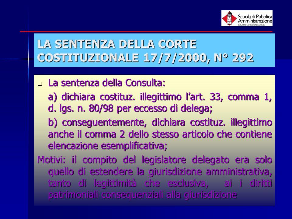 LA SENTENZA DELLA CORTE COSTITUZIONALE 17/7/2000, N° 292