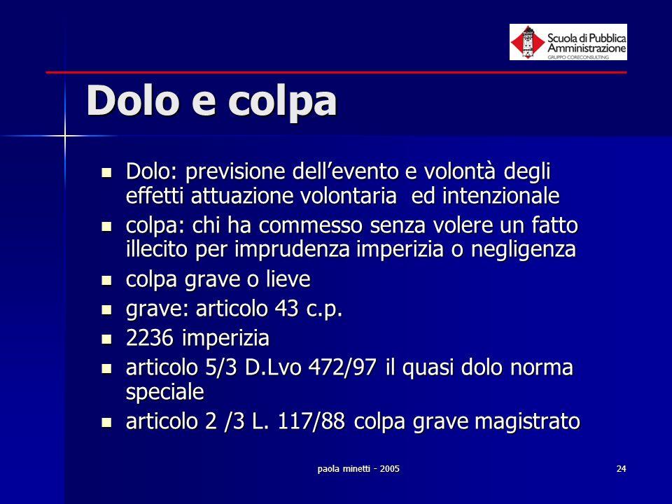 Dolo e colpa Dolo: previsione dell'evento e volontà degli effetti attuazione volontaria ed intenzionale.