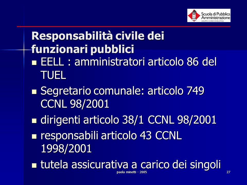 Responsabilità civile dei funzionari pubblici