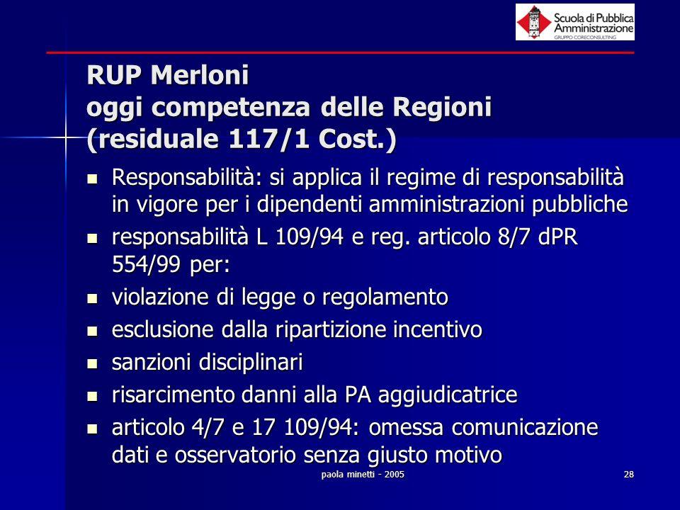 RUP Merloni oggi competenza delle Regioni (residuale 117/1 Cost.)