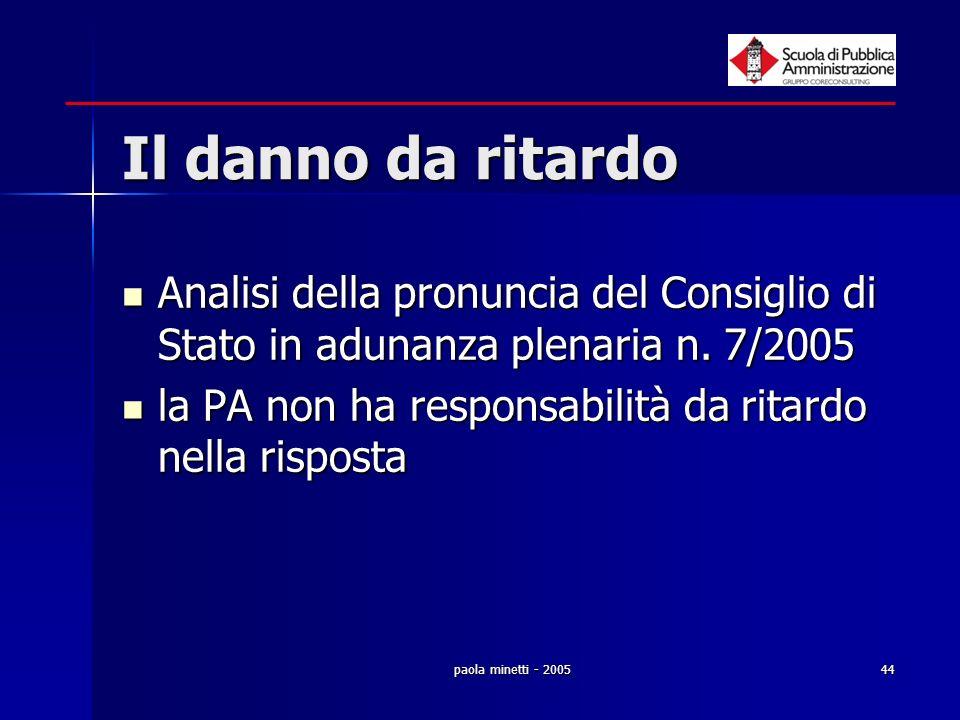 Il danno da ritardo Analisi della pronuncia del Consiglio di Stato in adunanza plenaria n. 7/2005.