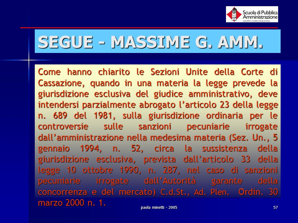 SEGUE - MASSIME G. AMM.