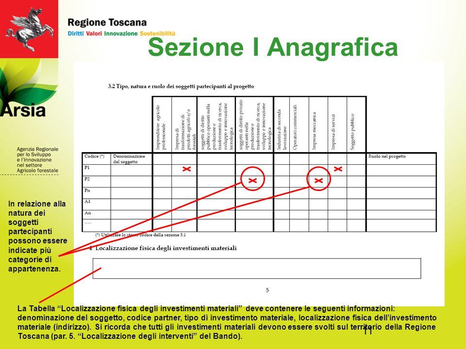 Sezione I Anagrafica In relazione alla natura dei soggetti partecipanti possono essere indicate più categorie di appartenenza.