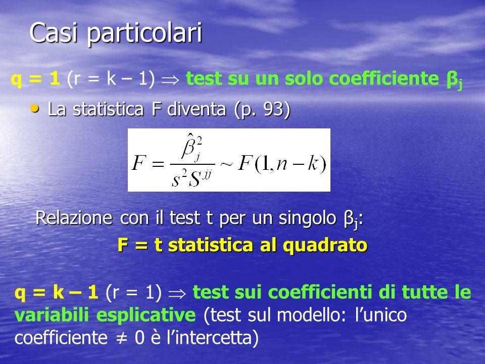 F = t statistica al quadrato