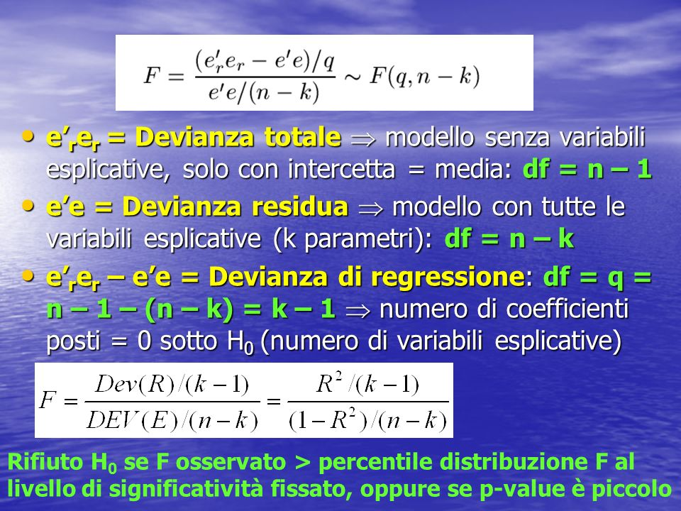 e'rer = Devianza totale  modello senza variabili esplicative, solo con intercetta = media: df = n – 1