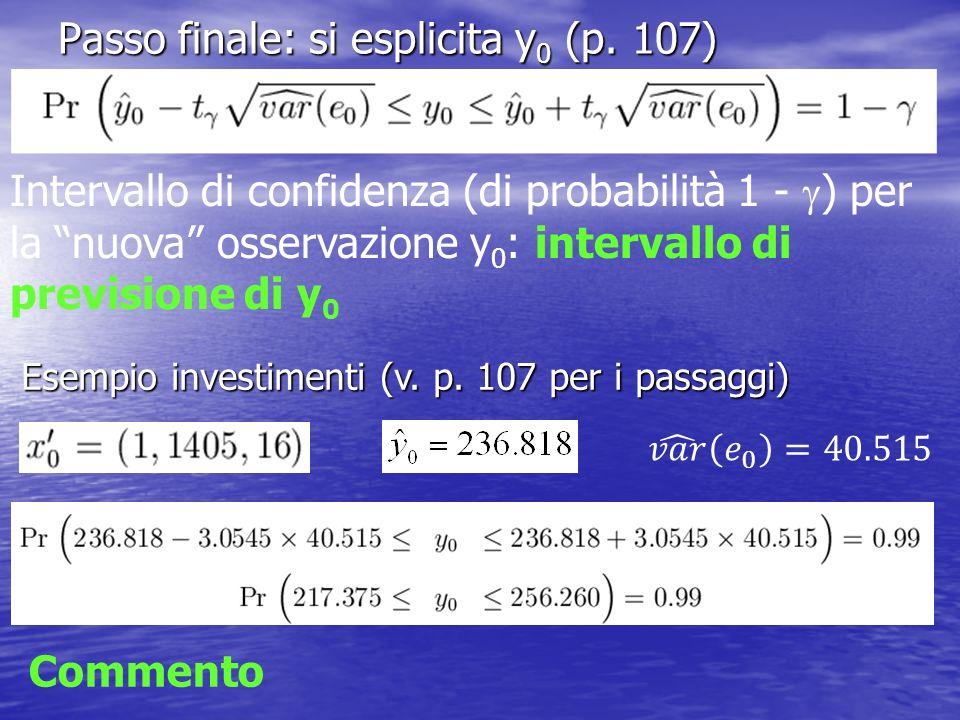 Passo finale: si esplicita y0 (p. 107)