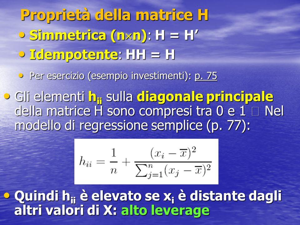 Proprietà della matrice H