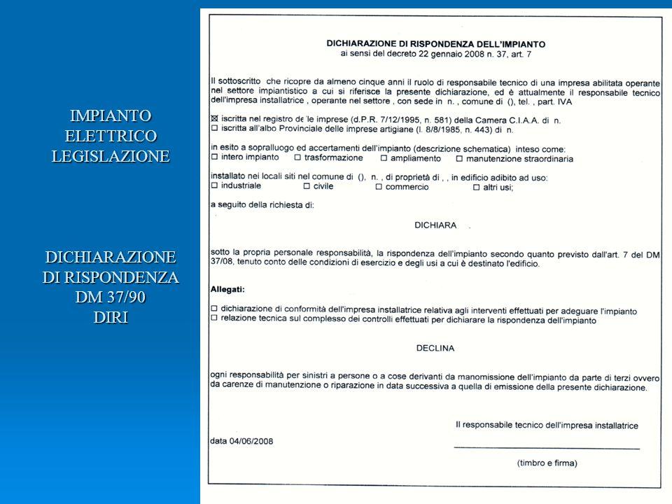 IMPIANTO ELETTRICO LEGISLAZIONE DICHIARAZIONE DI RISPONDENZA DM 37/90 DIRI