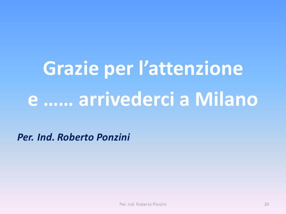 Grazie per l'attenzione e …… arrivederci a Milano