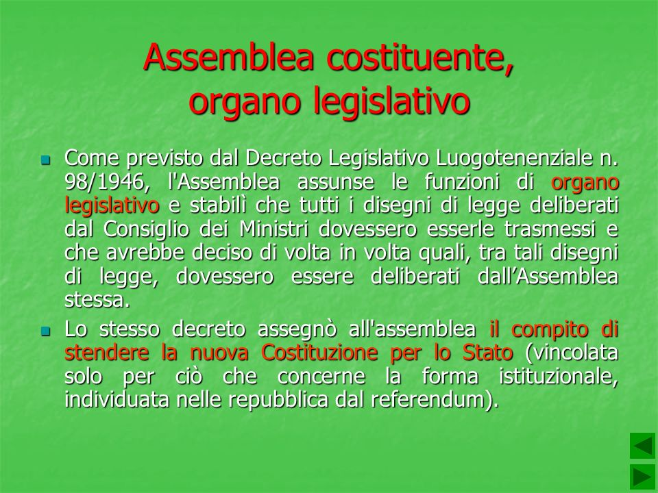 Assemblea costituente, organo legislativo